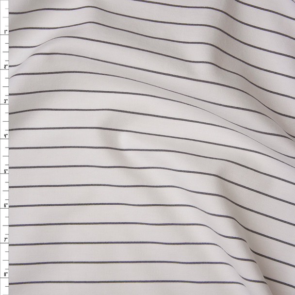 Black on White Horizontal Pinstripe Designer Ponte De Roma Fabric By The Yard