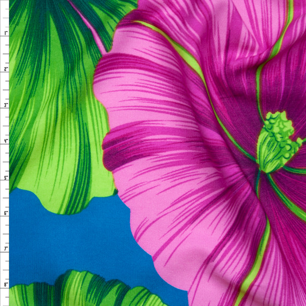 Hot Pink and Lime Green Large Tropical Floral on Turquoise Polyester Challis Fabric By The Yard