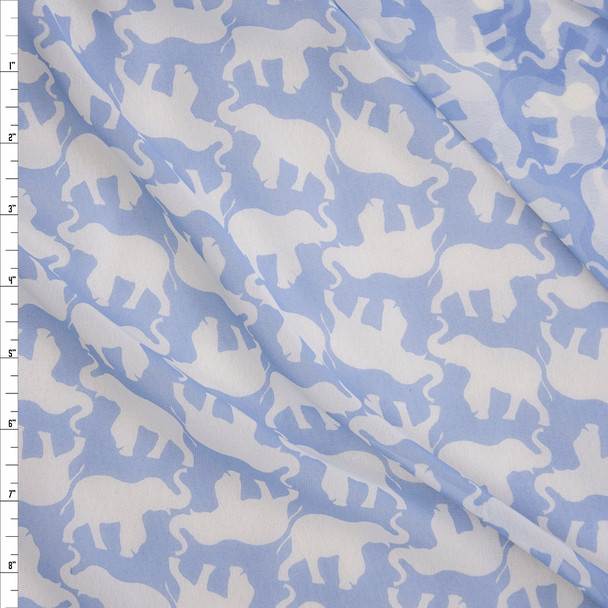 White Elephants on Light Blue Poly Chiffon Fabric By The Yard