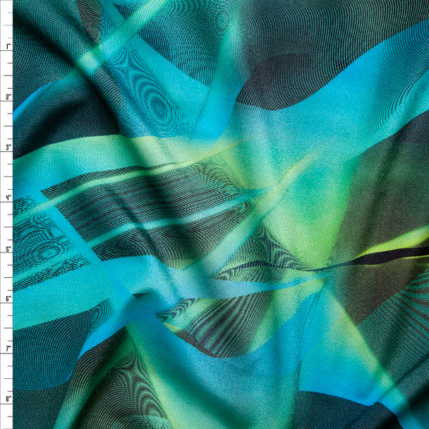 Lime and Turquoise Abstract Nylon/Lycra Fabric By The Yard