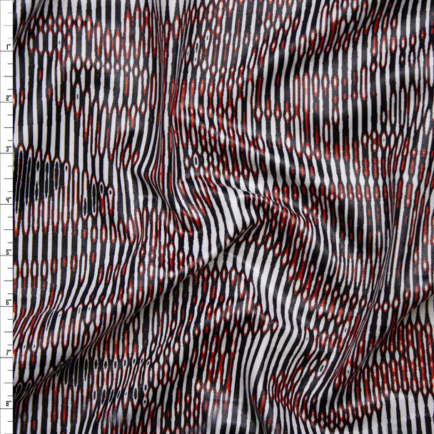Black, White, and Red Glossy Abstract Nylon/Lycra Fabric By The Yard