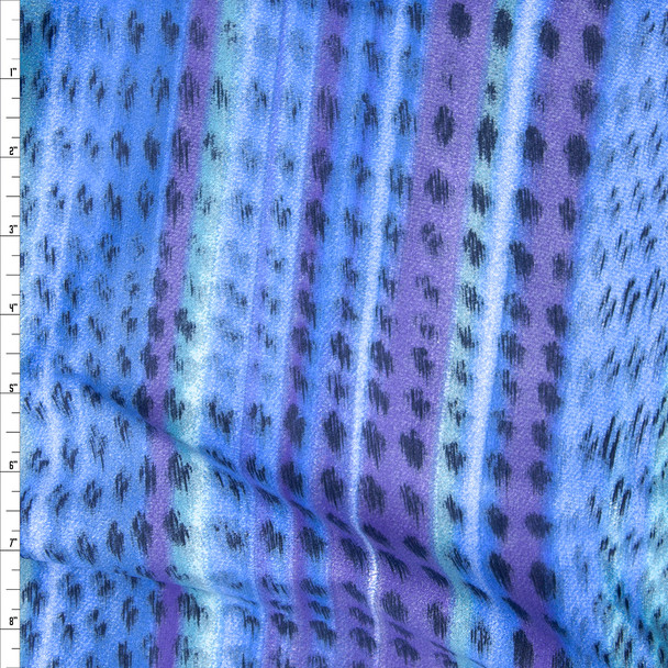 Blue and Lilac Watercolor Streaked Nylon/Lycra Fabric By The Yard