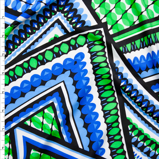 Blue, Lime, and Black Layered Tiles Nylon/Lycra Fabric By The Yard