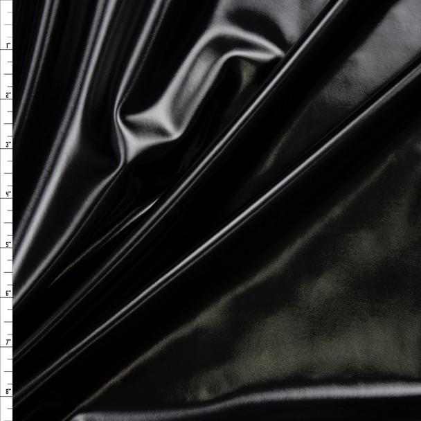 Premium Gloss Black Lycra Lame Fabric By The Yard