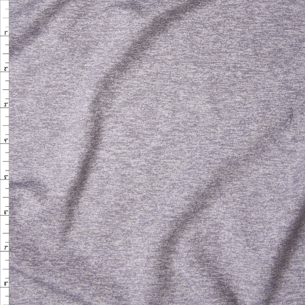 Light Grey Heather Athletic Single Brushed Poly/Spandex Fabric By The Yard
