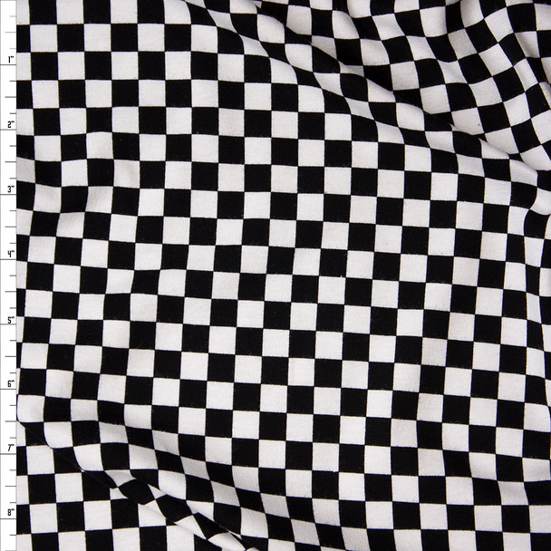 Black and White Checkered Midweight Stretch Rayon Jersey Knit Fabric By The Yard