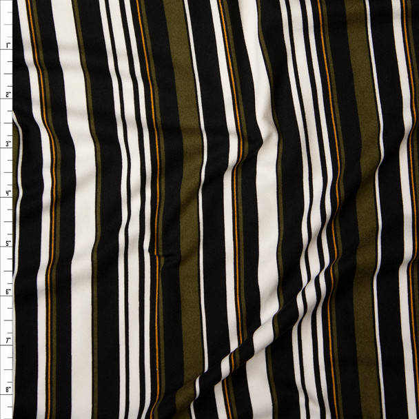 Olive, Offwhite, Black, and Orange Barcode Stripe Double Brushed Poly Spandex Print Fabric By The Yard