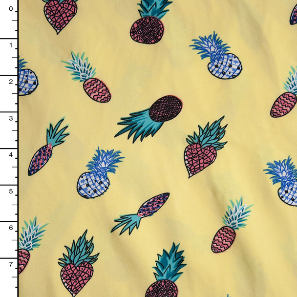Pineapples on Light Yellow Double Brushed Poly Spandex Fabric By The Yard