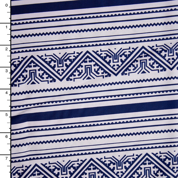 Navy and White Tribal Horizontal Stripe Nylon/Lycra Fabric By The Yard