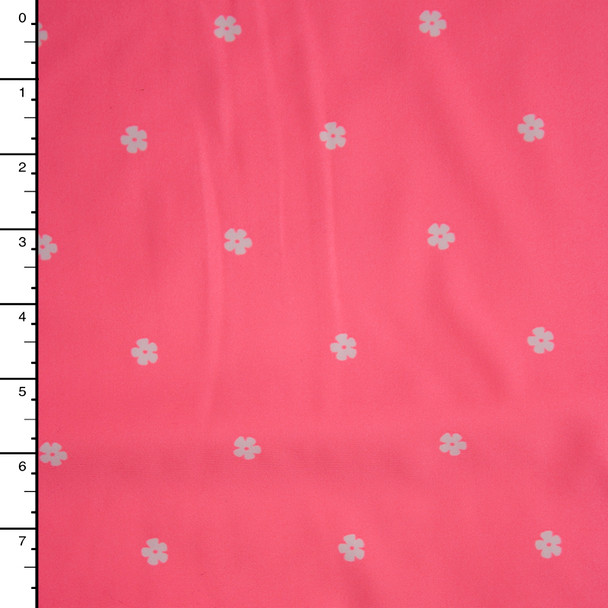 White Flowers on Neon Pink Nylon/Lycra Fabric By The Yard