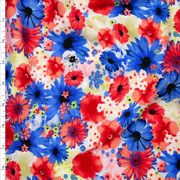 Red, Blue, White, and Yellow Floral Rayon Gauze Fabric By The Yard