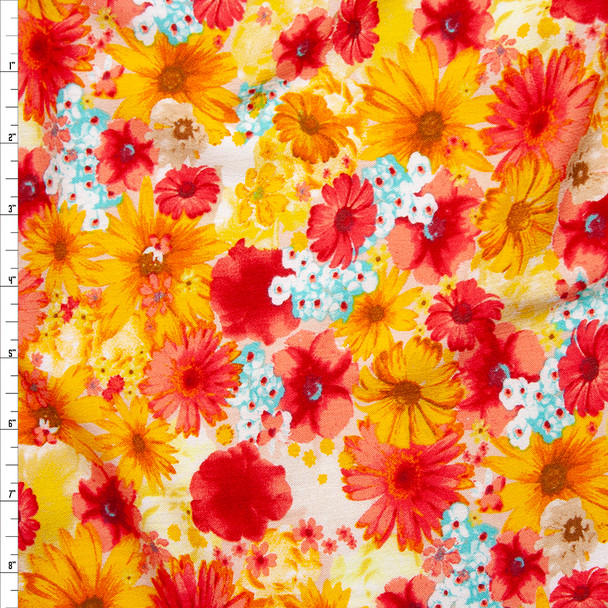Red, Orange, White, and Aqua Floral Rayon Gauze Fabric By The Yard