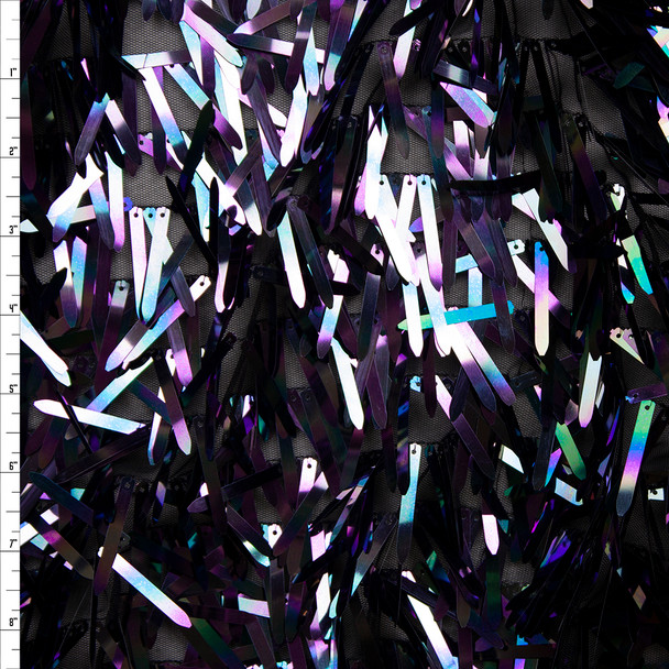 Midnight Iridescent Fringe Sequin Fabric Fabric By The Yard
