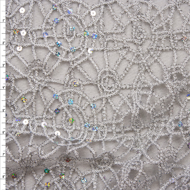 Silver Metallic Geometric Lace with Holographic Silver Sequin Fabric Fabric By The Yard