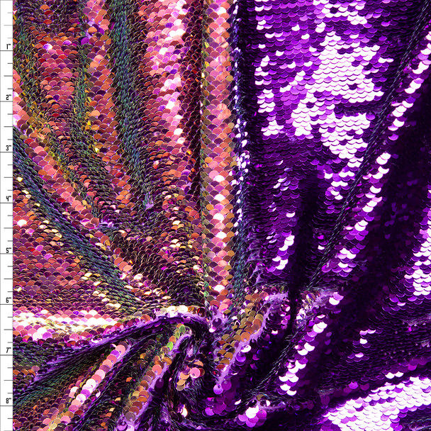 Purple and Iridescent Reversible Sequin Fabric Fabric By The Yard