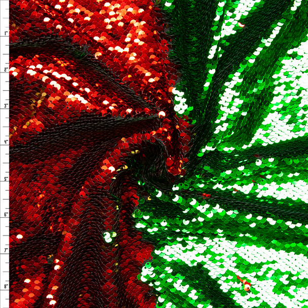 Red and Green Metallic Reversible Sequin Fabric Fabric By The Yard