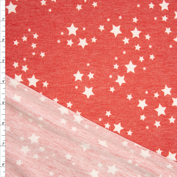 Ivory Stars on Heather Red Rayon French Terry Fabric By The Yard
