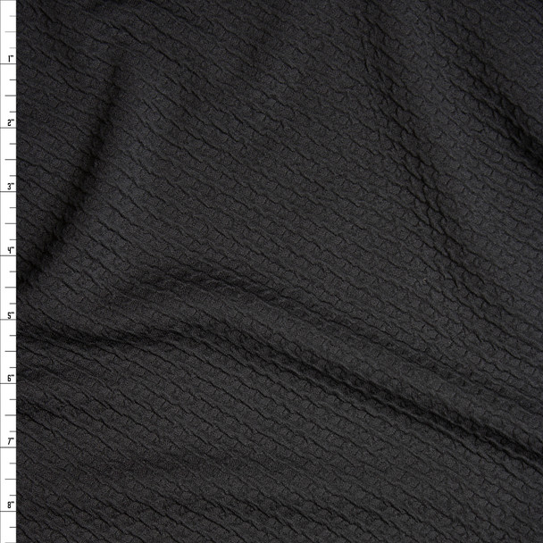 Black Cris-Cross Textured Double Knit Fabric By The Yard