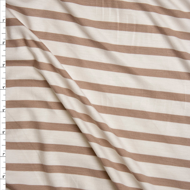 Ivory and Tan Horizontal Pencil Stripe Stretch Modal Jersey Knit Fabric By The Yard
