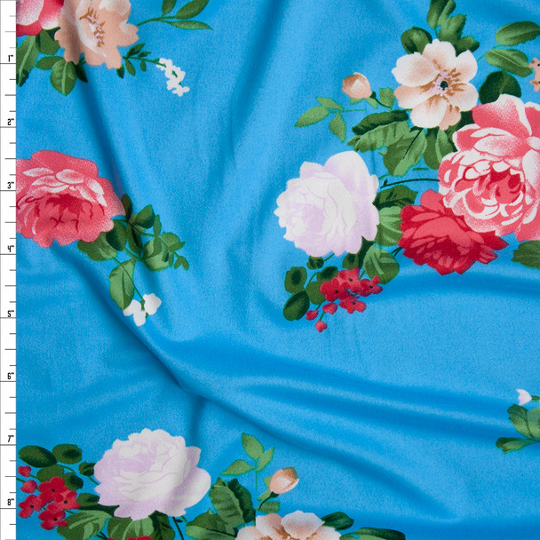 Pink, Peach, Lavender, and Green Floral on Bright Turquoise Double Brushed Poly Spandex Knit Fabric By The Yard