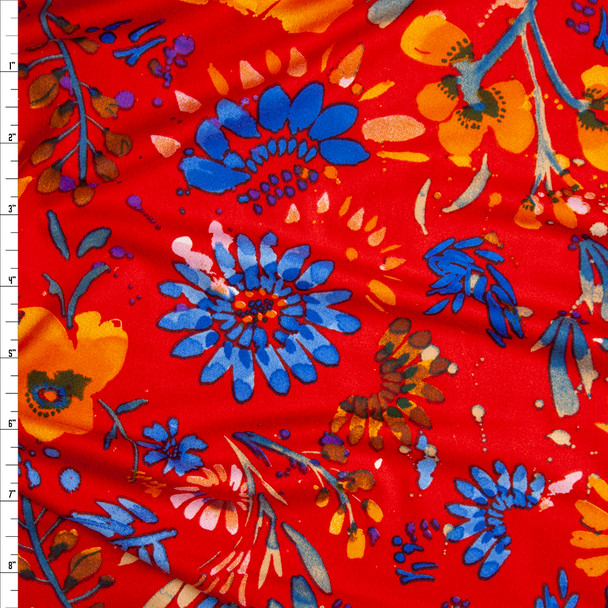 Vibrant Red, Orange, and Blue Firework Floral Double Brushed Poly Spandex Knit Fabric By The Yard