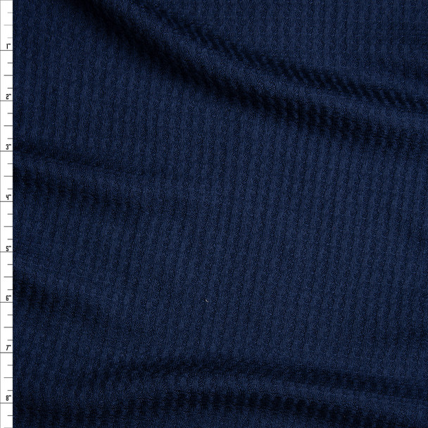 Navy Soft Waffle Knit Fabric By The Yard