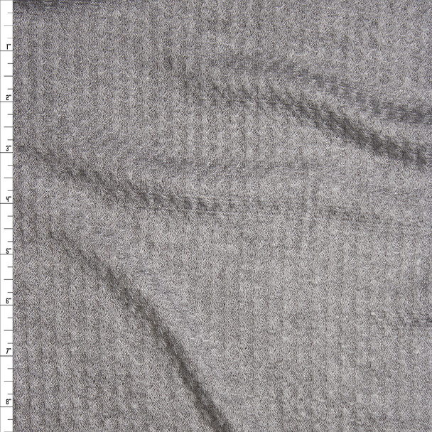 Heather Grey Soft Waffle Knit Fabric By The Yard