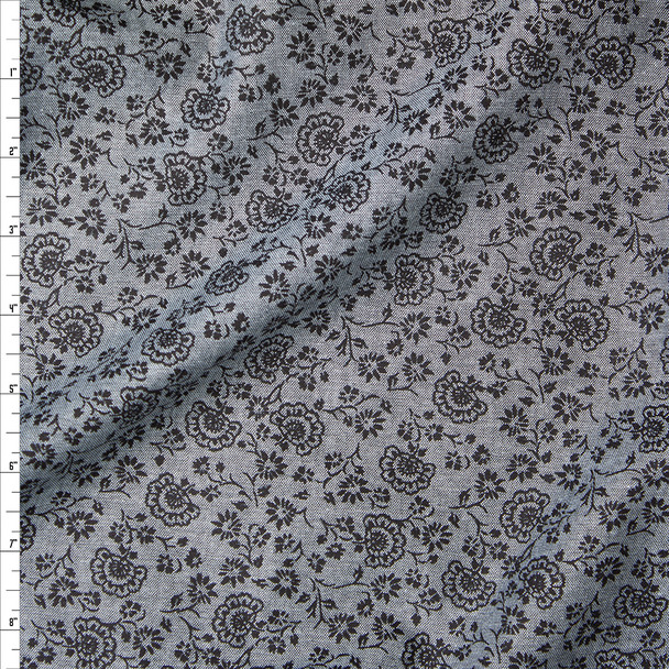 Black on Grey Floral Print Tencel Chambray Fabric By The Yard