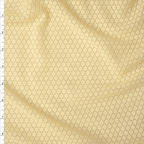 Yellow Floral Pattern Stretch Lace Fabric By The Yard