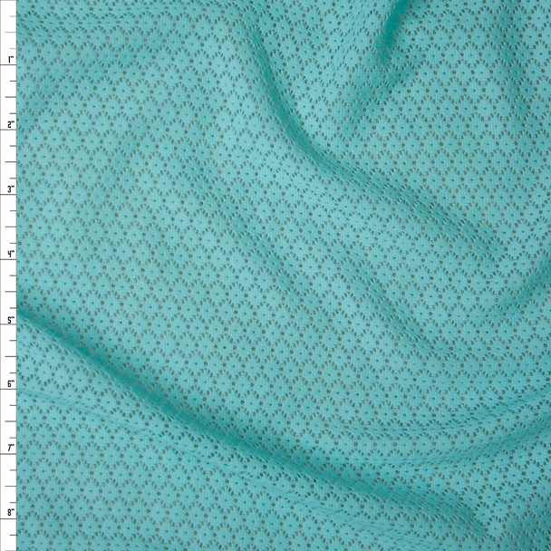 Aqua Floral Pattern Stretch Lace Fabric By The Yard
