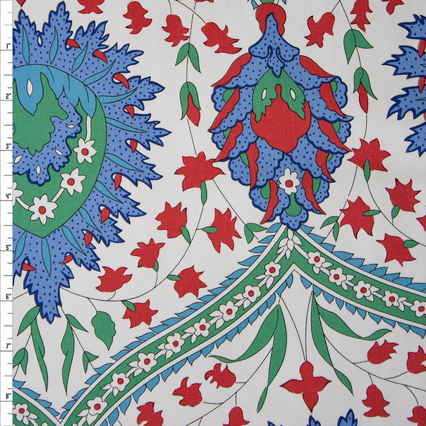 Mint, Periwinkle, and Red Floral Medallion Print on Offwhite Cotton Twill Fabric By The Yard