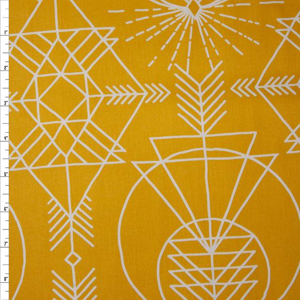 White Geometric Line Art on Mustard Cotton Twill Fabric By The Yard