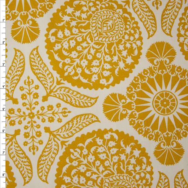 Mustard Medallion Print on Offwhite Cotton Twill Fabric By The Yard