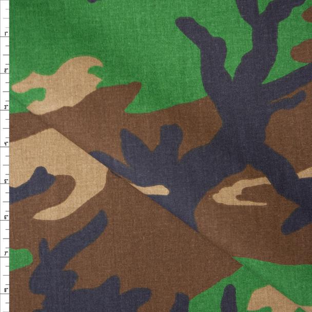 Camouflage Bottomweight Cotton Poplin Fabric By The Yard