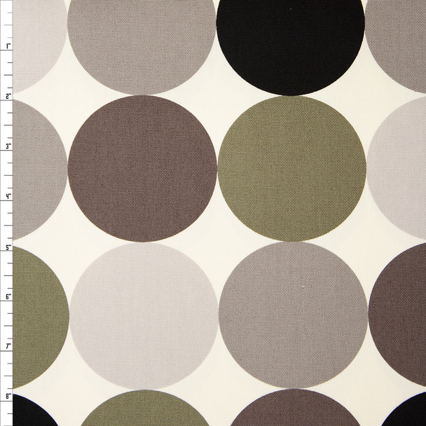 Large Dots in Shades of Grey and Olive on Offwhite Midweight Canvas Print Fabric By The Yard