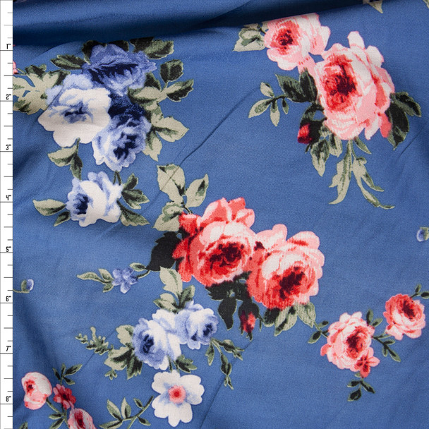 Pink and Blue Rose Floral on Light Blue Rayon Challis Fabric By The Yard