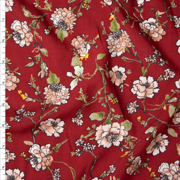 Pink, Sage, and Yellow Floral on Wine Rayon Challis Fabric By The Yard