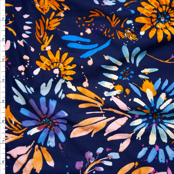 Pink, Blue, and Orange Firework Floral on Navy Blue Double Brushed Poly Spandex Fabric By The Yard