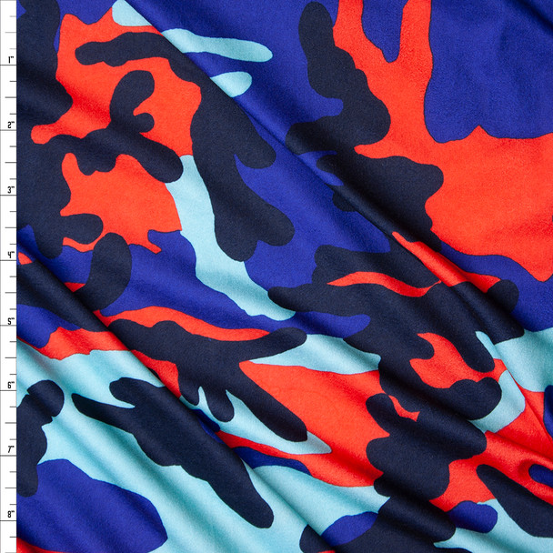 Blue, Aqua, Black, and Red Camouflage Double Brushed Poly Spandex Fabric By The Yard