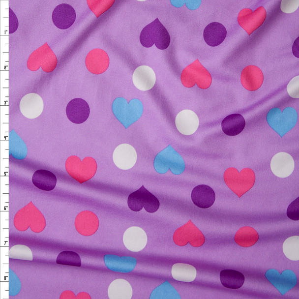 Pink and Purple Hearts and Polka Dots on Lilac Double Brushed Poly Spandex Fabric By The Yard