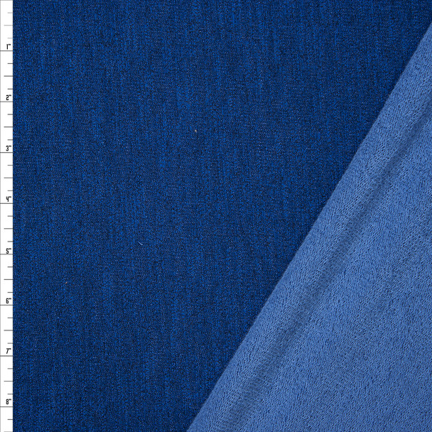 Royal Blue Heather Stretch French Terry Fabric By The Yard