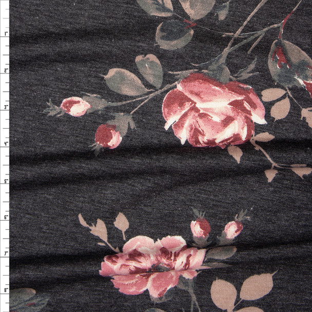 Mauve and Tan Floral on Charcoal Heather Lightweight French Terry Fabric By The Yard