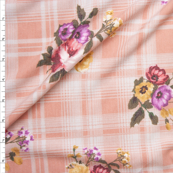 Spring Floral on Light Pink Plaid Lightweight Stretch French Terry Fabric By The Yard