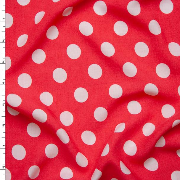 White on Hot Pink Polka Dot Rayon Challis Fabric By The Yard