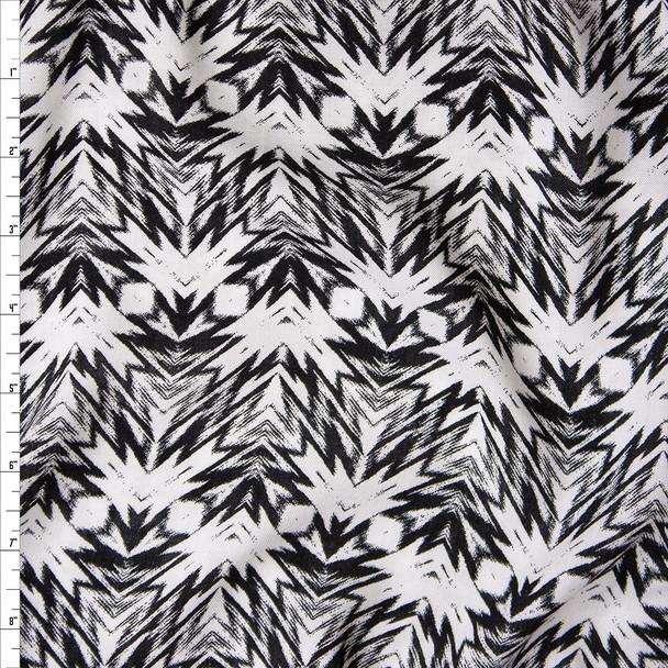 Black and White Kaleidoscope Geometric Print Rayon Challis Fabric By The Yard