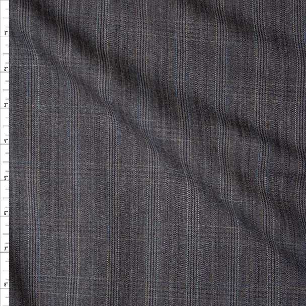 Grey Plaid Midweight Brushed Suiting Fabric By The Yard
