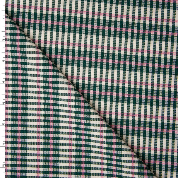 Green, Pink, and Ivory Plaid Stretch Brushed Wool Blend Suiting Fabric By The Yard