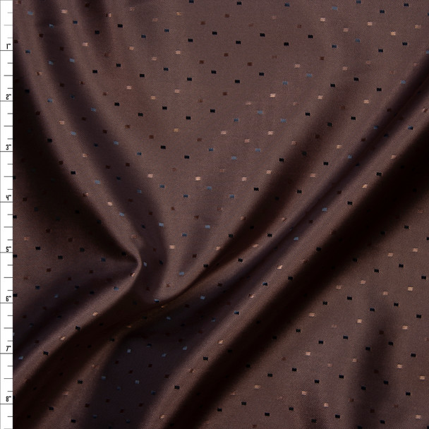 Brown with Brown Rectangles Poly Lining Fabric By The Yard