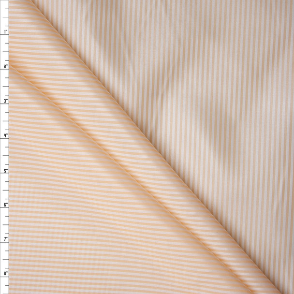Ivory and White Vertical Stripe Poly Lining Fabric By The Yard