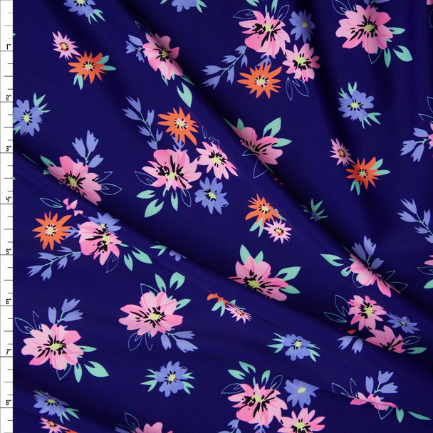Pink, Orange, Periwinkle, and Mint Flowers on Navy Blue Nylon/Spandex Print Fabric By The Yard
